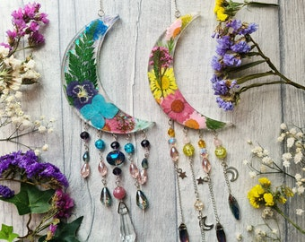 Resin Floral Crescent Moon Sun Catcher - Real Dried Flowers - Lunar Celestial - Beaded Wall Hangings - Nursery Ornament - Window Decor