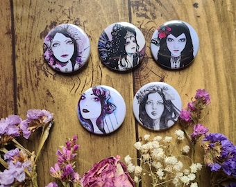 Fairy Art Pin Back Button - Badges 38mm Design - Metal Silver Back Button - Gift Set Accessories - Gothic Faery - Black Purple