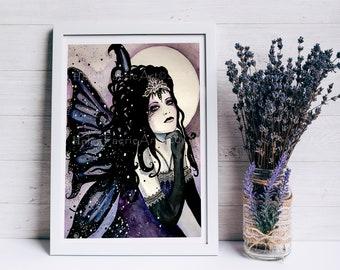 Fairy Art Card - Notepad - Gothic Fantasy Print - Full Moon - Ready To Frame - Blank Greeting Card - Faery Illustration