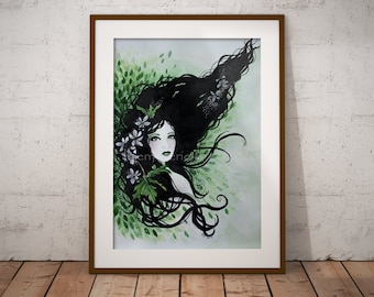 Woodland Fairy Wall Art - Greeting Card - Forest Green Poster Print - Mythical Creatures - Bedroom Decor - Envelope Set - Illustrated Faery
