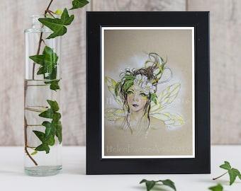 Woodland Fairy Art Print - Ready to Frame - Garden Tree Forest - Nursery Print - Flower Blossom Fairies - Hawthorn Tree