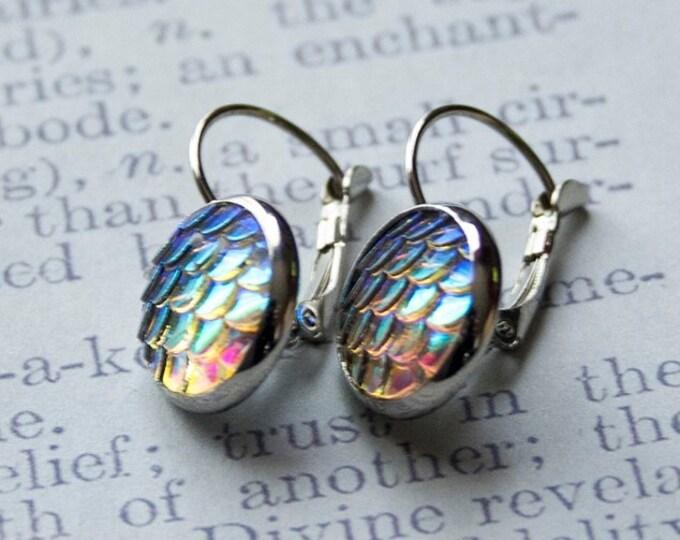 Featured listing image: Mermaid Scale Earrings, Silver Drop Earrings, Mermaid Jewelry, Iridescent Earrings, Mermaid Gift Accessories, Rainbow Scales