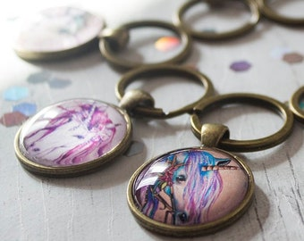 Unicorn Key Ring Handbag Charm, Small Bronze Charm, Unicorn Bag Keychain Gifts, Handmade Gifts, Mythical Creatures