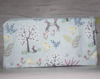 Pencil Case, Pen Case, Zipper Pencil Pouch, Pencil Cases, Cotton Pencil Case, Bunny Fabric, Woodland Fabric, Hares, Rabbits, Gifts for her
