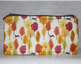 Woodland Trees Pencil Pen Case, Zipper Pencil Pouch, Handmade Cotton Purse, Woodland Forest Fabric, Tree Lover Gifts