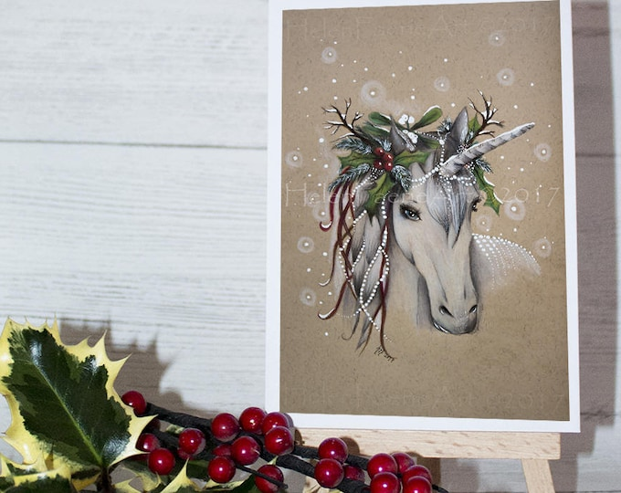 Featured listing image: Christmas Card, Greeting Card, Unicorn Cards, Holiday Cards, Yuletide Card, Blank Greeting Card, Unicorn Card, Handmade Card, Xmas Unicorn
