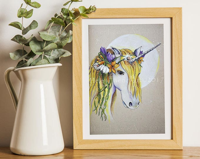 Featured listing image: Unicorn Gift, Ready to Frame, Spring Unicorn, Unicorn Print, Unicorn Wall Art, Unicorn Birthday, Unicorn Decor, Gift for her, Unicorn Art
