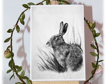 Hare Card, Greeting Card, Rabbit Card, Birthday Cards, Animal Card, Animal Greeting Card, Hare Art, All Occasion Card, Art Greeting Card