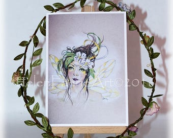 Blank Fairy Greeting Card, Green Floral Birthday Card, All Occasion Cards, Card and Envelope, Woodland Fantasy Art