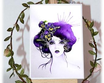 All Occasion Blank Cards, Purple Pansy Flower, Fairy Birthday Greeting Card, Flower Fairies Art, Fantasy Art Card, Garden Lovers Gift