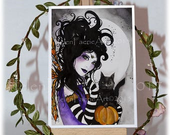 Gothic Fairy Greeting Card - Witch Black Cat Lover - All Occasion Birthday Card - Black Goth Gifts - Illustrated Art Work