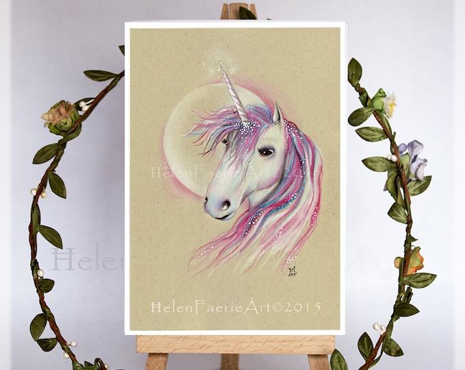 Featured listing image: Unicorn Greeting Card, All Occasion Card, Handmade Unicorn Gifts, Fantasy Art Card, Lunar Moon