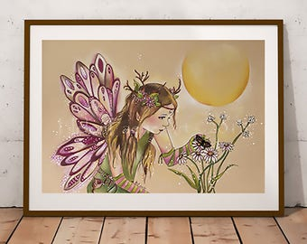 Fairy Art Print, Ready to Frame, Fantasy Art Print, Flower Fairy, Wall Print, Nursery Wall Art, Flower Fairy Art, Pink Fairy, Faery Print