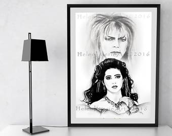 Bowie Art Print, Labyrinth Fan Gift, Monochrome Art, Jareth and Sarah, The Labyrinth Art, Ready to Frame, Fantasy Wall Decor