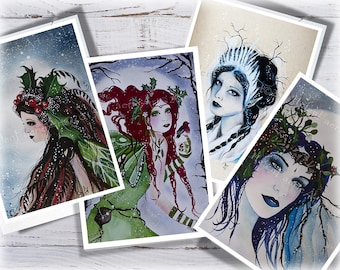 Yule Fairy Card - Magical Greeting Card - Seasons Greetings - Holiday Cards - Yuletide - Mythical Creatures