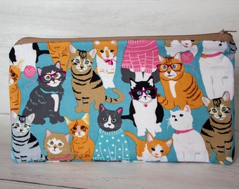 Cat Pencil Case - Kitty Cat Gifts - Crazy Cat Lover - Zipper Pouch - Handmade Cotton Purse - Stationary Addict