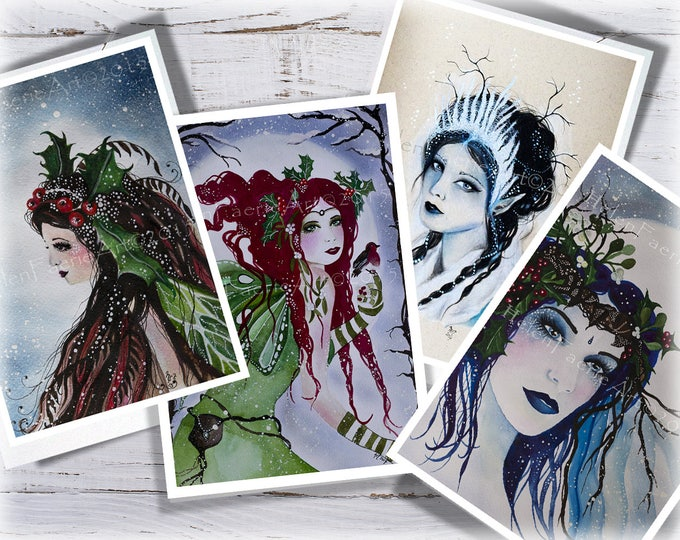 Featured listing image: Christmas Card Set, Greeting Card Set, Set of Cards, Holiday Cards, Fairy Cards, Fantasy Cards, Christmas Cards, Blank Cards, Yuletide Art