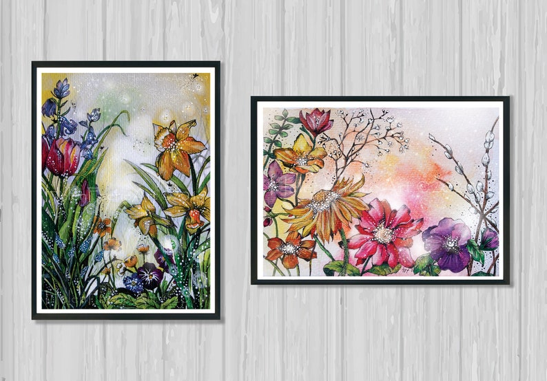 Fairy Greeting Card  Floral Garden Art Print  Illustrated image 0