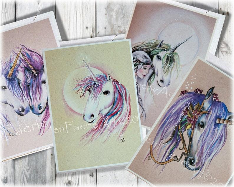 Greeting Card Set Set of Cards Birthday cards Unicorn image 0