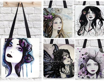 Fairy Canvas Tote Bag - Reusable Shopping Bag - Shoulder Holdall - Everyday Wear - Faeries Mythical Gift Accessories - Helenfaerieart Art
