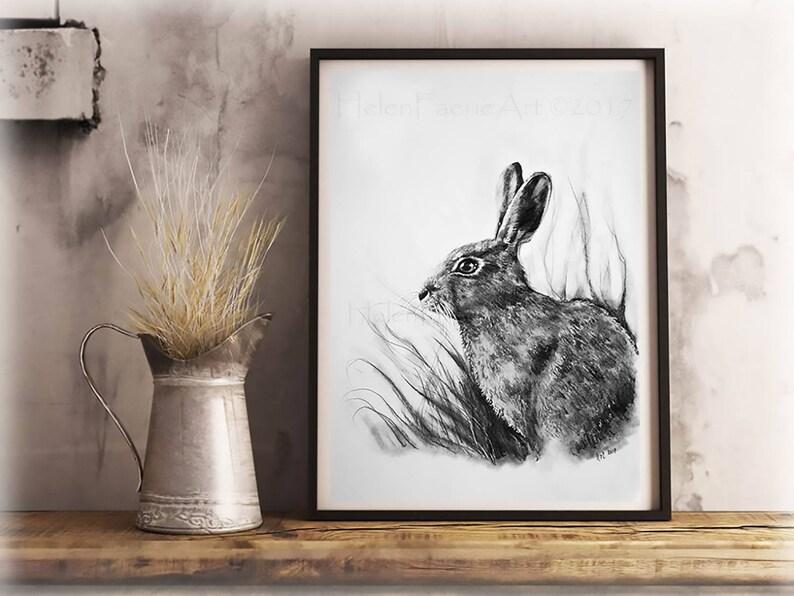 Hare Art Print  Wildlife Wall Decor  Animal Illustration  image 0