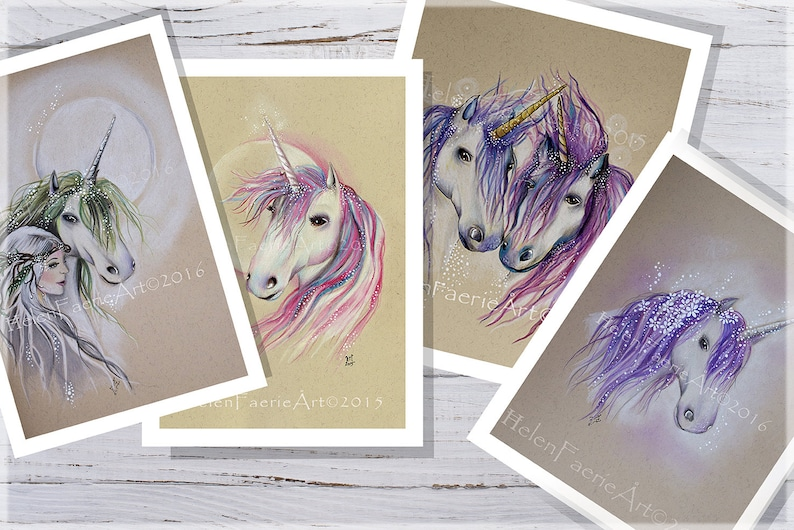 Unicorn Art Prints Set of 4 Prints Print Set Illustration image 0