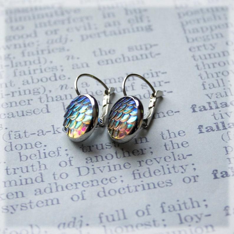 Mermaid Scale Earrings Silver Drop Earrings Mermaid Jewelry image 0