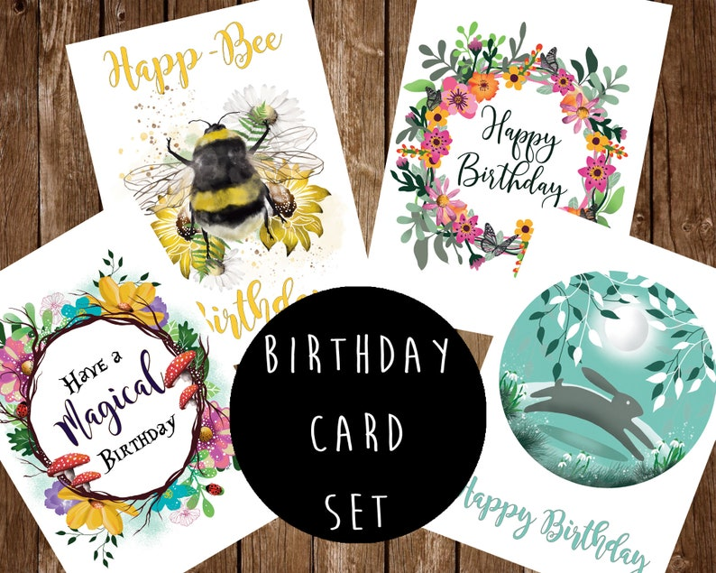 Magical Blank Birthday Greeting Card Set  Happ-Bee  image 0