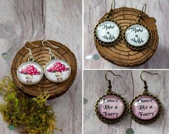 Red Mushroom - Dance Like a Fairy - Make a Wish - Bronze Drop Earrings - Woodland Forest - Magical Jewellery - Silver Charm - Handmade Gift
