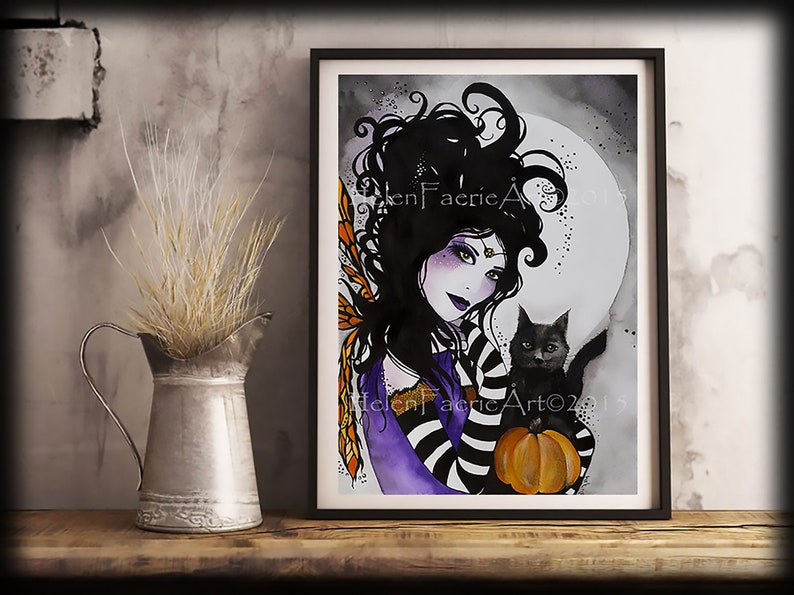 Gothic Fairy Wall Art  Samhain Witch  Black Cat Lover  Home image 1
