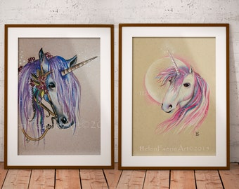 Unicorn Fairy Wall Art Print - Nursery Room Decor - Greeting Cards - Ready to Frame - Fantasy Mythical Creatures - Wall Hangings - Magical