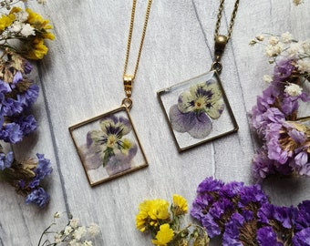 Botanical Pansy Resin Dried Flower Pendant - Square Shaped Jewellery - Pressed Floral Necklace - Nature woodland - Bronze Gold Chain