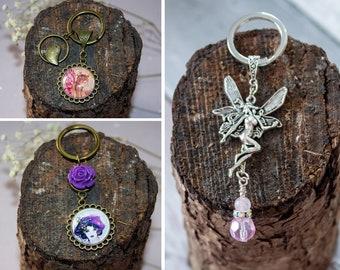 Fairy Friend Key Ring - Bag Charm Accessory - Handmade Bronze Keychain - Silver Handbag Purse - Art Nouveau Faery