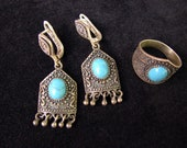 Armenian Jewelry Set Earrings and Ring Sterling Silver 925 Antique Ethnic Style with Turquoise, Armenian Handmade Jewelry, Party Earrings,