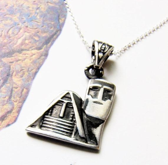 Pendant Grandma and Grandpa, Artsakh Symbol,  Tatik-Papik, Sterling Silver 925, Silver chain as a gift - Armenian Handmade Jewelry