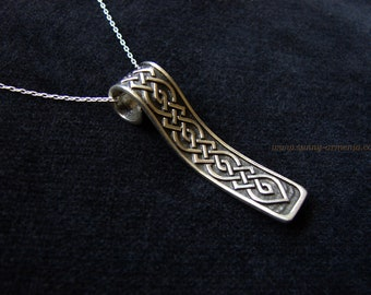 Long Pendant Carpet Sterling Silver 925, Ethnic Necklace Carpet Ornament, Silver Chain as a gift, Armenian Handmade Jewelry, Gift for Her
