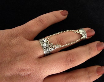 Ethnic Style Silver Double Rings, Chains linked, Adjustable multi-finger rings, Gift for Her, Armenian Handmade Jewelry