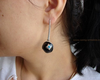 Long Earrings Black Onyx and Turquoise, Sterling Silver 925, Gift for Her, Dangle Party Earring, Armenian Handmade Jewelry