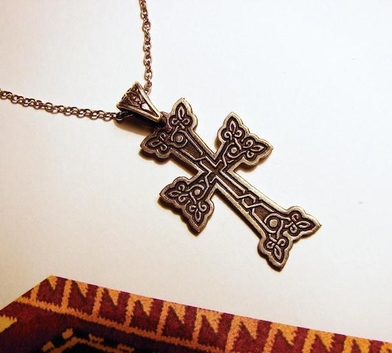 925 Sterling Silber Armenisches Kreuz Ketten-Anhänger Kreuz blühendes Kreuz