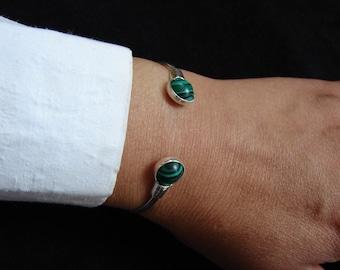 Malachite Bangle Cuff Bracelet, Sterling Silver 925, Minimalist Bracelet, Boho Jewelry. Armenian Handmade Jewelry, Gift for Her