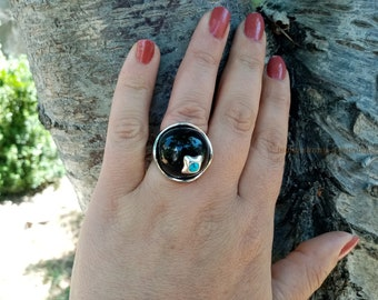 Large Ring with Black Onyx and Turquoise, Sterling Silver 925, Gift for Her, Statement Ring, Armenian Handmade Jewelry