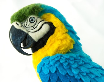 Made to Order Needle Felted Large Parrot: Custom needle felted animal sculpture