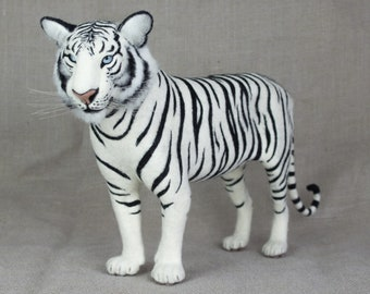 Made to Order Needle Felted Tiger: Custom needle felted animal sculpture