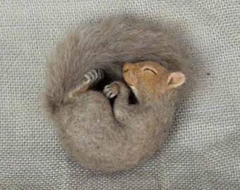 Made to Order Needle Felted Mini Sleeping Squirrel: Custom needle felted animal sculpture