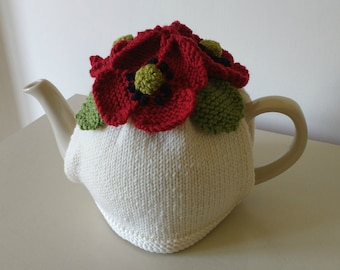 Knitting Pattern for Poppies Tea Cosy