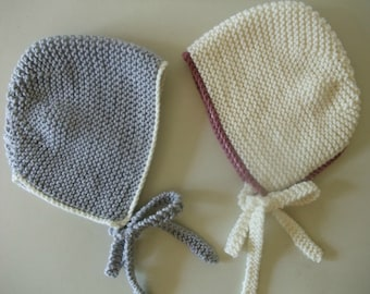 Knitting Pattern for Simple Baby Bonnet