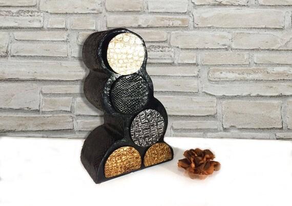 Cassettiera nera portagioielli mobile di cartone riciclato for Regalo cassettiera