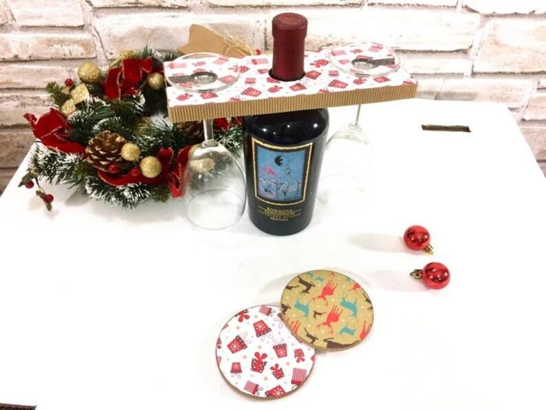 Regali Natale Per Coppia Di Amici.Regalo Di Natale Per Amici Regalo Per La Coppia Regalo Natale Vino Set 2 Sottobicchieri E Porta Bicchieri Per Vino Regalo Porta Vino