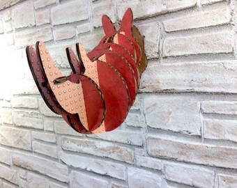 Cardboard Rhino head, wall decor rhinoceros head, rhino trophy cardboard art rhino wall art, cardboard animal DIY sustainable, gift for him
