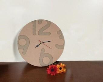 Eco Cardboard Wall Clock, wall clock, recycled cardboard, wall clock design, corrugated paper clock